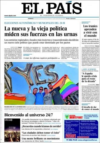 «La nueva y la vieja política miden sus fuerzas en las urnas», a la portada d'«El País»
