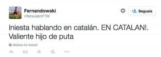 Vés a: Iniesta i el seu discurs en català, víctimes de la catalanofòbia a Twitter