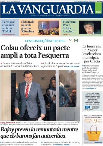 «Colau ofereix un pacte ampli a tota l'esquerra», a la portada de «La Vanguardia»