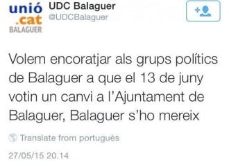 Unió demana als partits de Balaguer que facin fora l'actual alcalde, de CiU