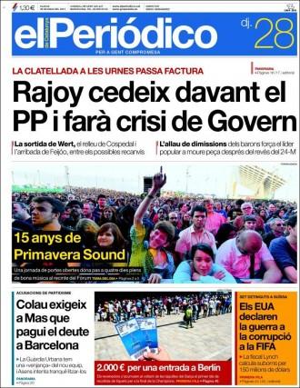 Vés a: «Colau exigeix a Mas que pagui el deute a Barcelona», a la portada de «El Periódico»