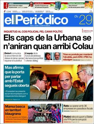 Vés a: «Els caps de la Urbana se n'aniran quan arribi Colau», a la portada de «El Periódico»