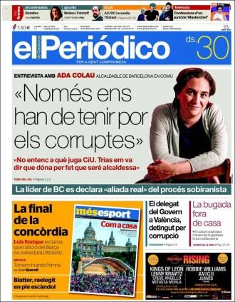 Vés a: «Només ens han de tenir por els corruptes», a la portada d'«El Periódico»