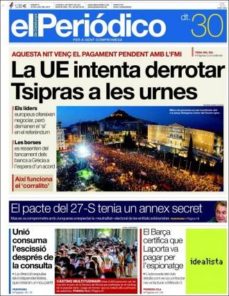 «La UE intenta derrotar Tsipras a les urnes», a la portada d'«El Periódico»