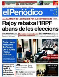 «Rajoy rebaixa l'IRPF abans de les eleccions», a la portada d'«El Periódico»