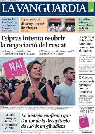 Vés a: «Tsipras intenta reobrir la negociació del rescat», a la portada de «La Vanguardia»