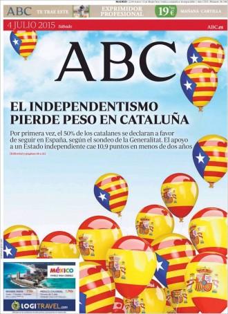 «El independentismo pierde peso en Cataluña», a la portada de l'«ABC»