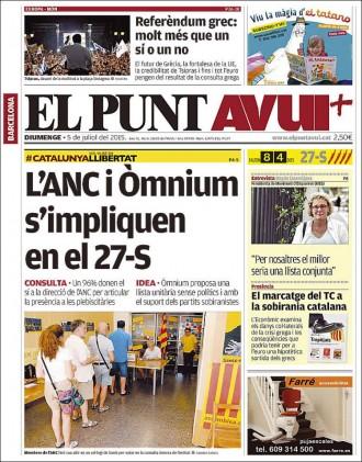 Vés a: «L'ANC i Òmnium s'impliquen en el 27-S», a la portada del «Punt Avui»