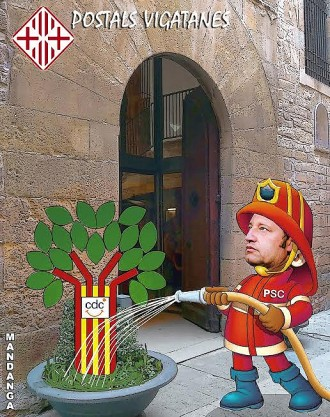 El bomber Dòniga rega l'arbre convergent