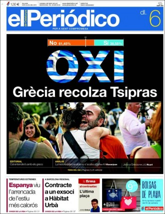 Vés a: «OXI. Grècia recolza Tsipras», a la portada d'«El Periódico»