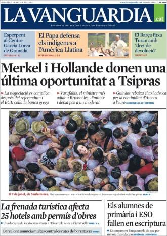 Vés a: «Merkel i Hollande donen una última oportunitat a Tsipras», a la portada de «La Vanguardia»