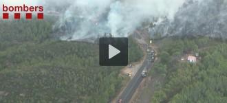 Vídeos de l'incendi del Bages i l'Anoia a vista d'ocell