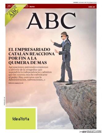 «El empresariado catalán reacciona por fin a la quimera de Mas», a la portada de l'«ABC»