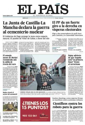 Vés a: «El PP da un fuerte giro a la derecha en vísperas electorales», a la portada d'«El País»