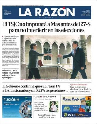 Vés a: «El TSJC no imputará a Mas antes del 27-S para no interferir en las elecciones», a la portada de «La Razón»