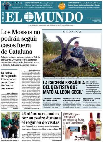 «Los Mossos no podran seguir casos fuera de Cataluña», a portada d'«El Mundo»
