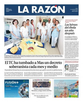 Vés a: «El TC ha tumbado a Mas un decreto soberanista cada mes y medio», a la portada de «La Razón»