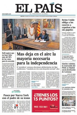 «Mas deja en el aire la mayoría necesaria para la independencia», a la portada d'«El País»