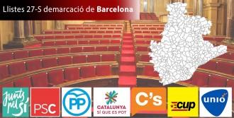 Totes les llistes i candidats a Barcelona de les eleccions del 27 de setembre