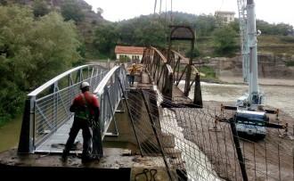 Es recupera la passarel·la a la resclosa dels Molins, de Les Masies de Roda