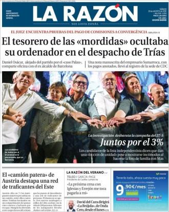 Vés a: «Juntos por el 3%», a la portada de «La Razón»