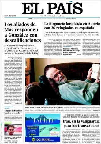 Vés a: «Los aliados de Mas responden a González con descalificaciones», a la portada de «El País»