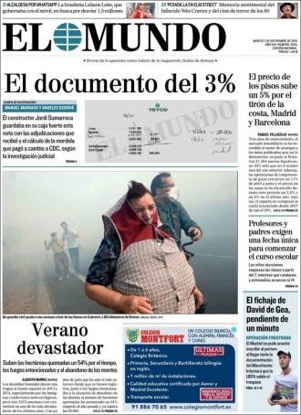 Vés a: «El documento del 3%», a la portada de «El Mundo»