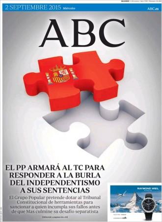 Vés a: «El PP armará al TC para responder a la burla del independentismo a sus sentencias», a la portada de l'«ABC»