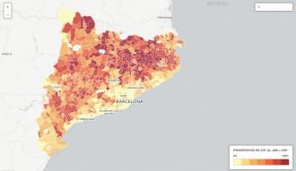 MAPA Intensitat de vot de Junts pel Sí més CUP