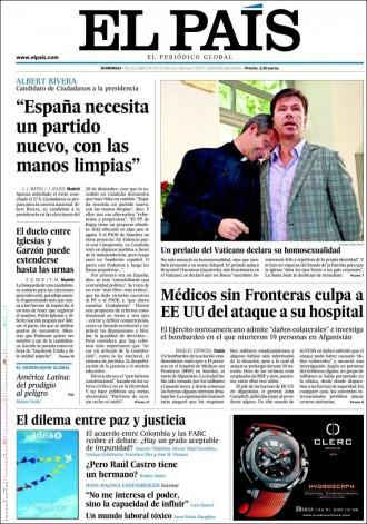 Vés a: «Albert Rivera: España necesita un partido nuevo, con las manos limpias», a la portada d'«El País»