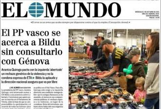 Vés a: «El PP basc s'acosta a Bildu sense consultar-ho amb Génova», a la portada d'«El Mundo»