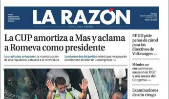 Vés a: «La CUP amortiza a Mas y aclama a Romeva como presidente», a la portada de «La Razón»