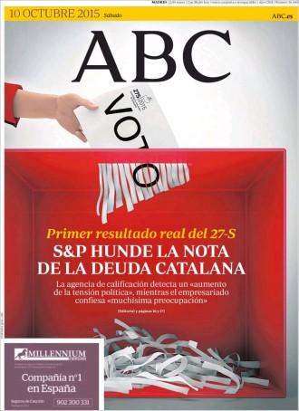 Vés a: «S&P hunde la nota de la deuda catalana», a la portada de l'«ABC»