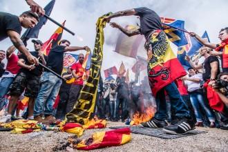 FOTOS Les manifestacions del 12 d'Octubre a Barcelona