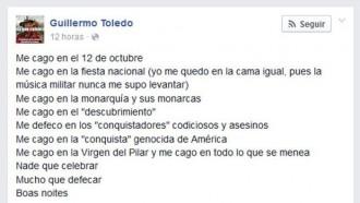 L'actor Willy Toledo es «caga» amb la celebració del 12 d'Octubre