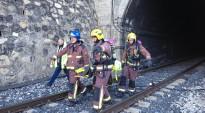 Protecció Civil i Adif realitzen un simulacre d'incendi al túnel de 'La Faió', a Riba-roja d'Ebre