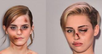 Un artista transforma «celebrities» en dones maltractades