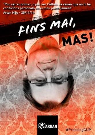 «Fins mai, Mas», el contundent cartell d'Arran, el referent juvenil de la CUP