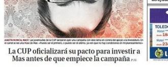 Vés a: «La CUP oficializará su pacto para investir a Mas antes de que empiece la campaña», a la portada de «La Razón»