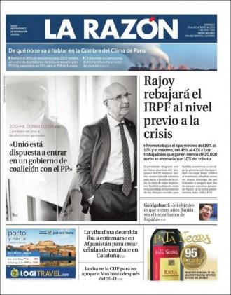 Vés a: «Duran: Unió está dispuesta a entrar en un gobierno de coalición con el PP», a la portada de «La Razón»
