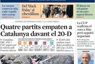 Vés a: Enquesta sobre les eleccions espanyoles a Catalunya, a la portada de «La Vanguardia»