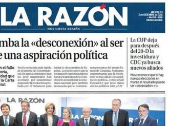 Vés a: «La CUP deja para después del 20-D la investidura y CDC ya busca nuevos aliados», a la portada de «La Razón»