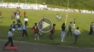 La tangana al partit de futbol entre el Torelló i el Centelles, el 1990