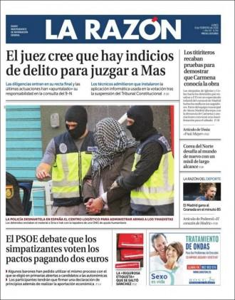 Vés a: «El juez cree que hay indicios de delito para juzgar a Mas», a la portada de «La Razón»