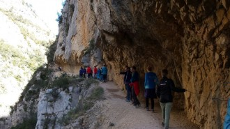 L'equip holandès d'escalada s'entrena a les vies del Pallars Jussà