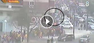 Primer vídeo de l'atropellament a una família de culers a la final de Copa el 2014