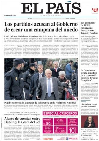 Vés a: «Los partidos acusan al Gobierno de crear una campaña del miedo», a la portada d'«El País»