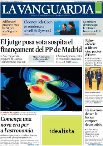 Vés a: «El jutge posa sota sospita el finançament del PP a Madrid», a la portada de «La Vanguardia»