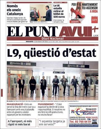 Vés a: «Només els uneix Catalunya» a la portada d'«El Punt Avui»