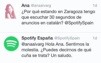 Polseguera a la xarxa per un tuit d'Spotify demanant perdó per publicar anuncis en català